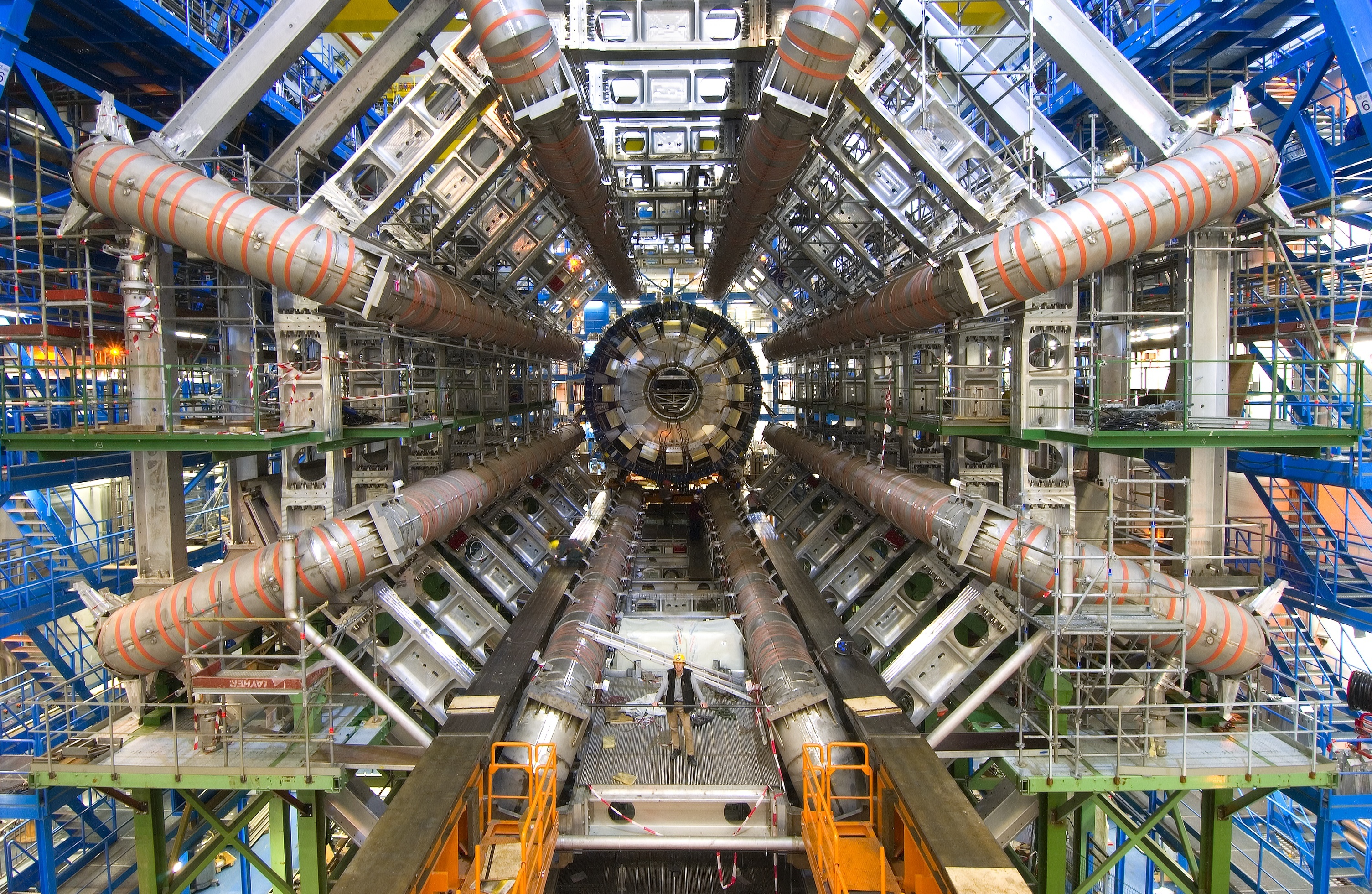 Inside the ATLAS collaboration's detector at the Large Hadron Collider.