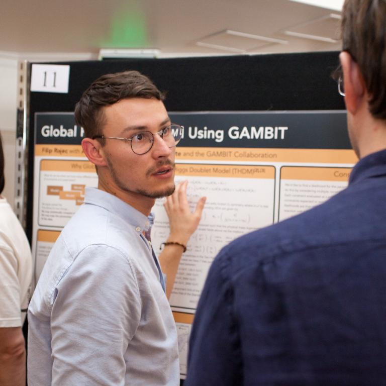 University of Adelaide student Filip Rajec presents his work on GAMBIT at the CoEPP 2017 scientific workshop poster session