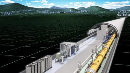 Render of International Linear Collider - Next-generation particle accelerator (Courtesy: Rey.Hori/KEK)