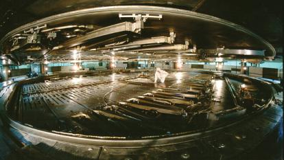"The interior vacuum ""tank"" of TRIUMF's main cyclotron, the largest in the world. (Courtesy of TRIUMF)"