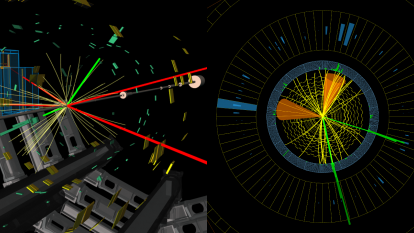 Candidates for a Higgs produced with a Z. ATLAS (l): both decay ultimately to leptons, leaving two electrons (green) and four muons (red). CMS (r): the Higgs decays to two charm quarks forming jets (cones); the Z decays to electrons (green) (Image: ATLAS/CMS/CERN)