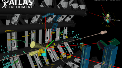 An event recorded by ATLAS showing a candidate for a Higgs boson produced in association with two top quarks. The Higgs boson decays to four muons (red tracks). There is an additional electron (green track) and four particle jets (yellow cones) (Image: ATLAS/CERN)