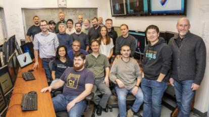 A group photo of laser experiment participants in the BELLA Center control room at Berkeley Lab. (Credit: Marilyn Chung/Berkeley Lab)