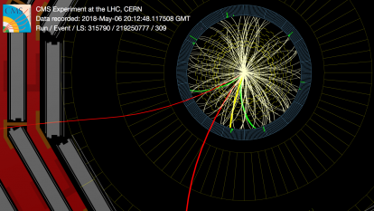 An event recorded by CMS showing a candidate for the Bc(2S*). The signature for this new particle is the presence of two pions (green lines) and a Bc meson, that decays into a pion (yellow line) plus a J/psi that itself decays to two muons (red). (Image: CERN)