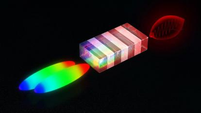 concept art of dual laser pulses passing through a crystal and expanding into color gradients