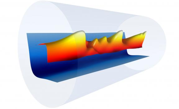 "A snapshot of a plasma channel's electron density profile (blue) formed inside a sapphire tube (gray) with the combination of an electrical discharge and an 8-nanosecond laser pulse (red, orange, and yellow). This plasma channel was used to guide femtoseconds-long ""driver"" laser pulses from the BELLA petawatt laser system, which generated plasma waves and accelerated electrons to 8 billion electron volts in just 20 centimeters. (Credit: Gennadiy Bagdasarov/Keldysh Institute of Applied Mathematics; Anthony G"