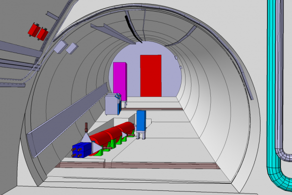 A 3D picture of the planned FASER detector as seen in the TI12 tunnel. The detector is precisely aligned with the collision axis in ATLAS, 480 m away from the collision point (Image: FASER/CERN)