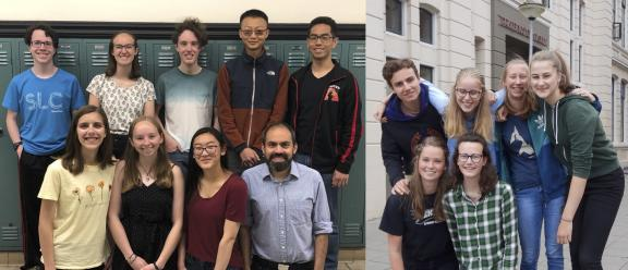 The 2019 CERN Beamline for Schools winners: (from left) Team from the West High School in Salt Lake City, USA (Image: Kara Budge) and team from the Praedinius Gymnasium in Groningen, Netherlands (Image: Martin Mug).