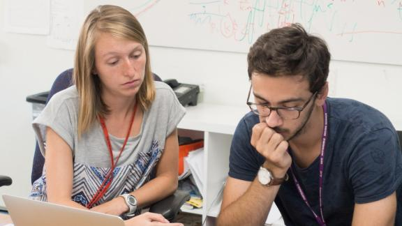 Kelly and Master's student Mathieu Chuniaud consider some System Test data.