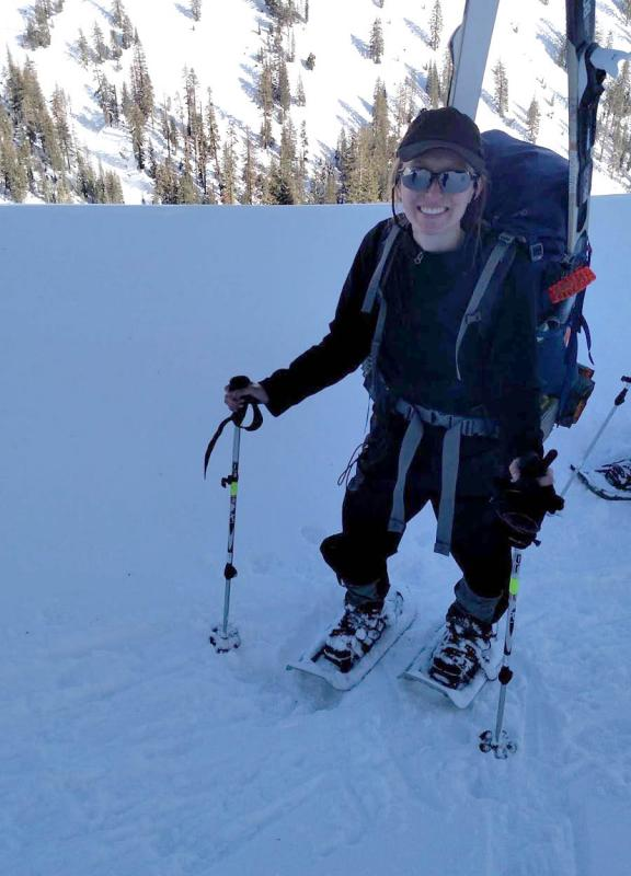 Kelly Stifter on a backpacking/cross country skiing trip in Lassen National Park.