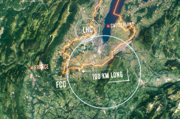 a satellite image of the large hadron collider in europe