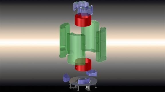 A diagram showing the components of the acrylic tanks veto system for the LUX-ZEPLIN experiment. The green and blue objects represent the clear acrylic tanks. They will be fitted snugly together and held by a metal base. (Credit: LZ Collaboration)